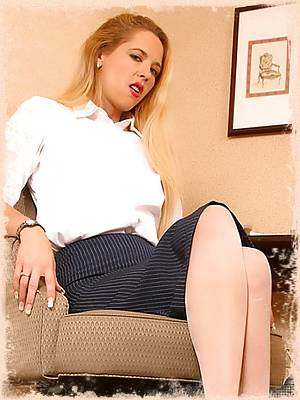 Secretary Kyla in gorgeous white stockings