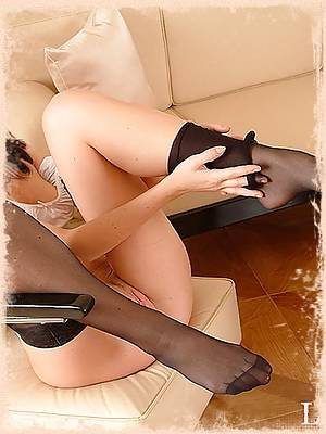 Secretary Lisa in silky black stockings