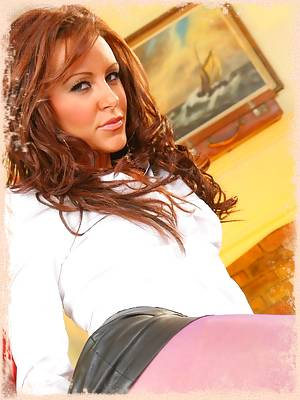 Samantha K in a tight leather miniskirt and purple pantyhose.